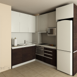кухня, вградени мебели, кафяво и бяло