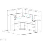 идеен проект, кухня, ъглово разположение, вградени уреди